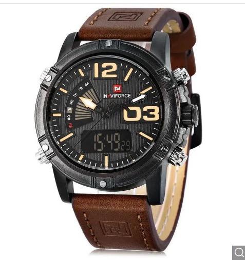 5c4282cdbdf Relógio Masculino Naviforce 9095 Pulseira De Couro - R  140