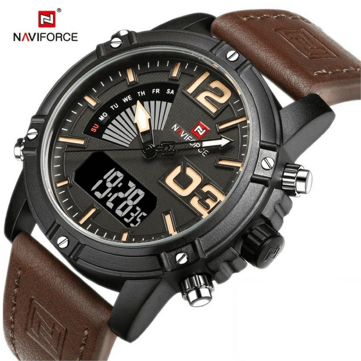 d549eb1cf2e relogio masculino naviforce 9095 pulseira de couro promoção. Carregando  zoom.