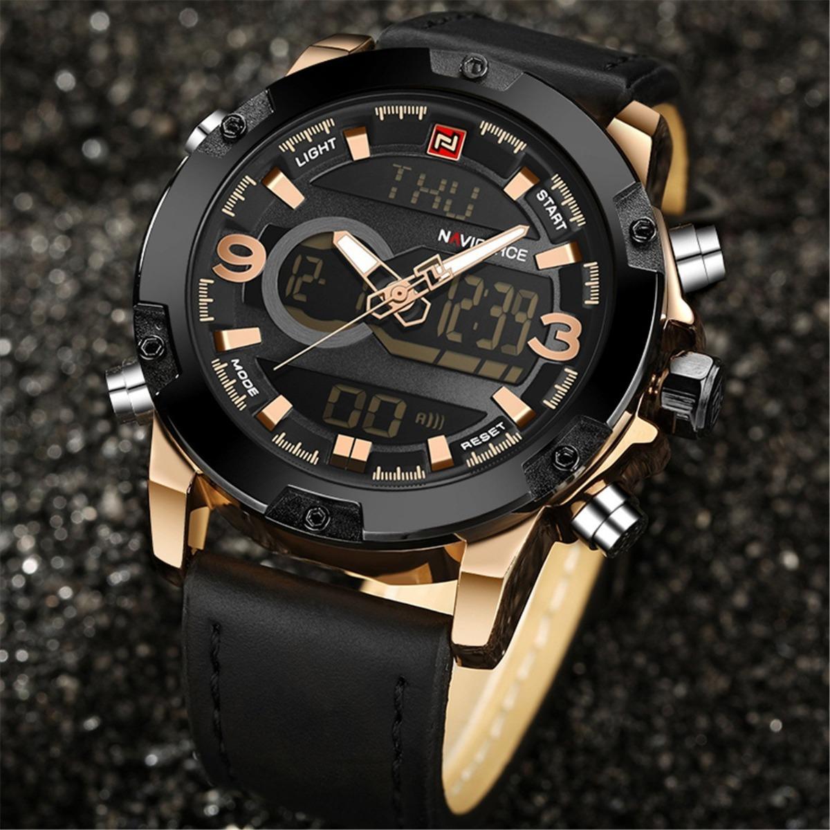 f0cc22e10d0 relógio masculino naviforce 9097 pulseira couro c caixa. Carregando zoom.