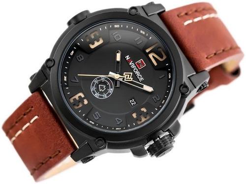 relógio masculino naviforce 9099 pulseira em couro barato a prova d'água aço inox pronta entrega