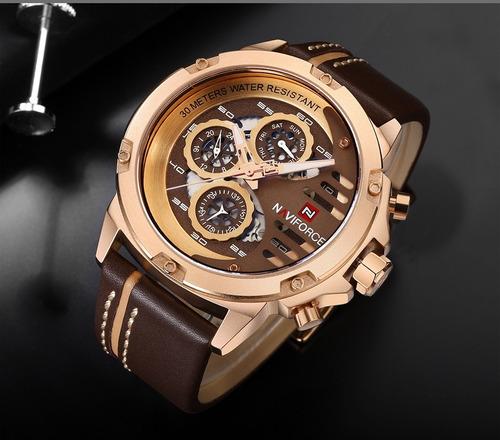 relógio masculino naviforce 9110 original marron/dourado