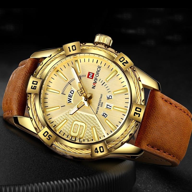 a5bc45bd36e relógio masculino naviforce 9117 top dourado couro. Carregando zoom.