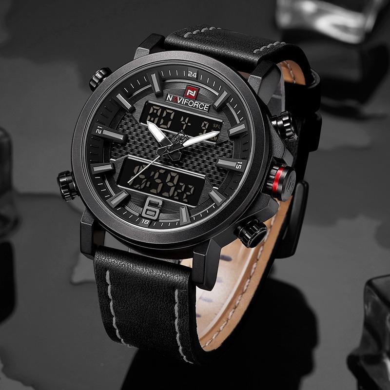 2642c0cf70b relógio masculino naviforce 9135 pulseira couro lançamento. Carregando zoom.