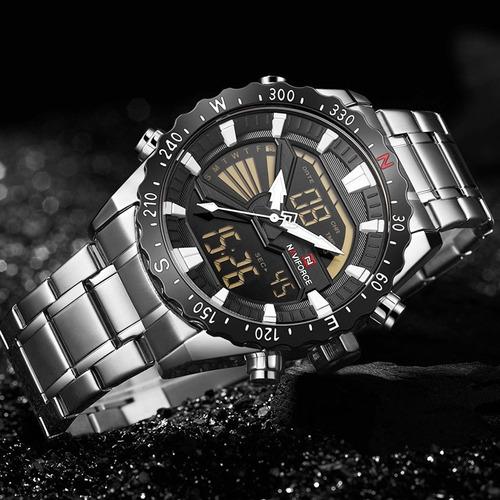 relógio masculino naviforce 9136s lançamento original