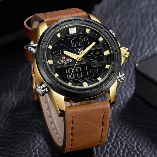 relógio masculino naviforce 9138 digital analógico com caixa