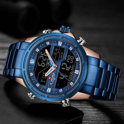 relógio masculino naviforce 9138s esportivo digital original