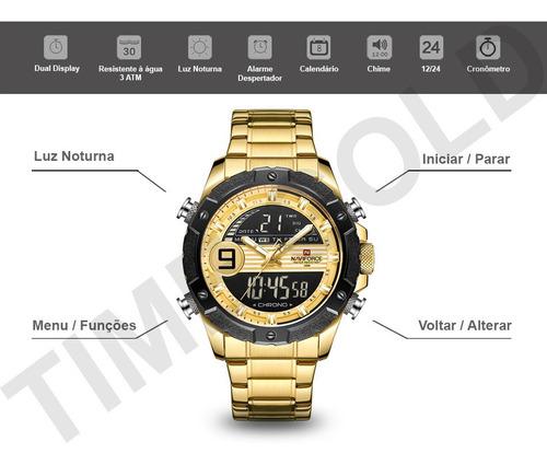 relógio masculino naviforce 9146s esportivo lançamento