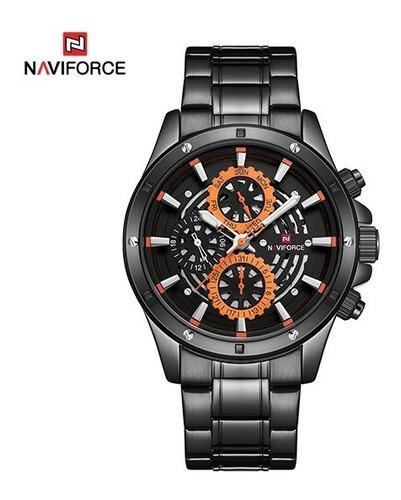 relógio masculino naviforce 9149 original pulseira aço