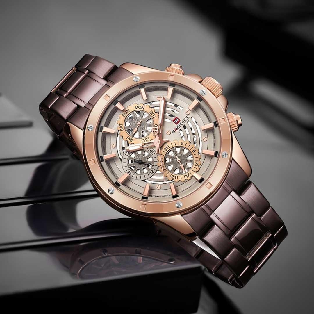 87309910430 relógio masculino naviforce 9149 original pulseira aço rose. Carregando  zoom.