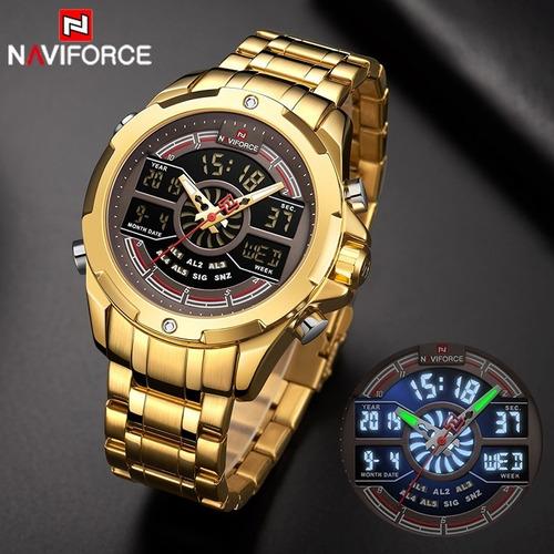 relógio masculino naviforce aço inox esporte 9170 dourado