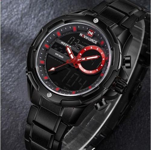 relógio masculino naviforce aço inoxidável cronometro e digi
