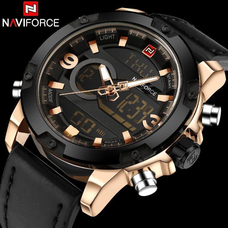 e118c6020fe relógio masculino naviforce analógico pulseira de couro luxo. Carregando  zoom.