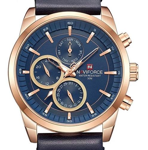 relógio  masculino naviforce crónografo pulseira couro