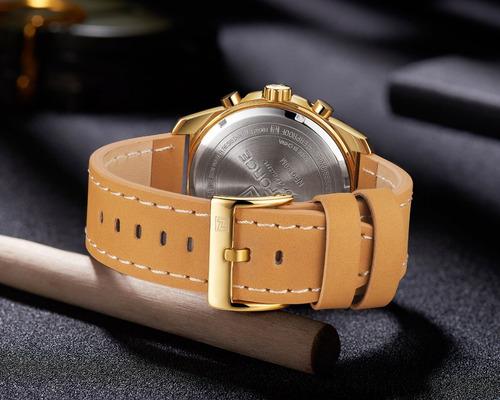 relógio masculino naviforce cronógrafo pulseira couro