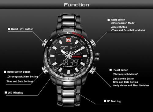 0dcc5c125ac Relógio Masculino Naviforce Dourado Digital Aço Original - R  165