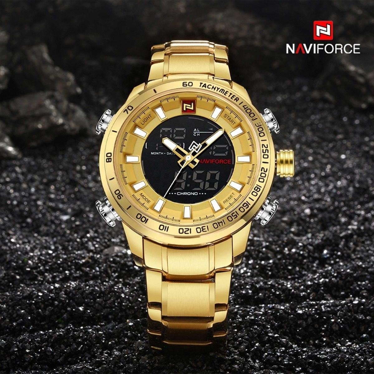 58da24f65dc relógio masculino naviforce dourado digital aço original. Carregando zoom.