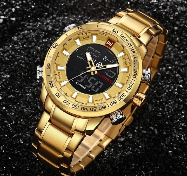 25c0edd1c0f Relógio Masculino Naviforce Dourado Digital Aço Original - R  179