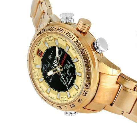 c97ee1f25ba Relógio Masculino Naviforce Dourado Digital Aço Original-top - R  180