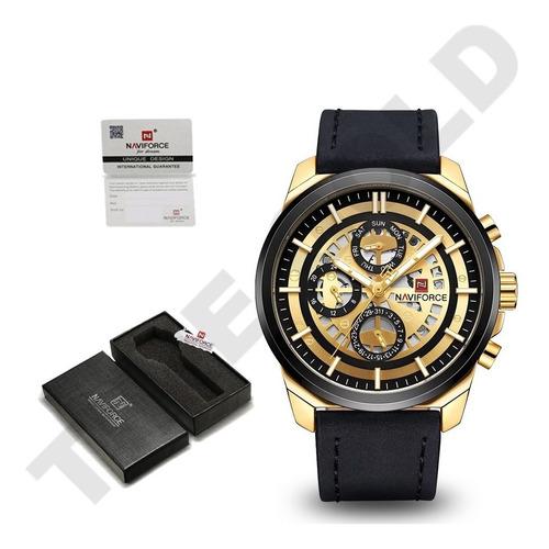 relógio masculino naviforce dourado pulseira couro original