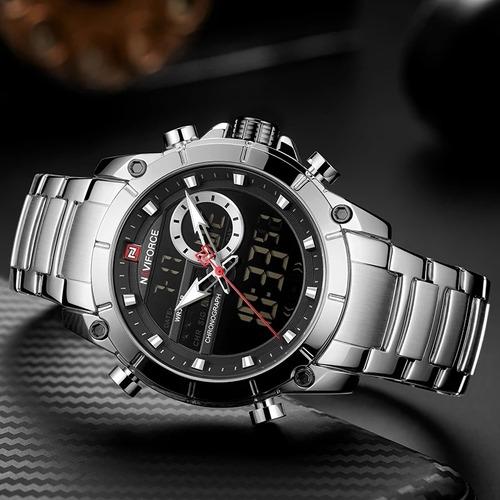 relógio masculino naviforce esportivo anadigi original luxo