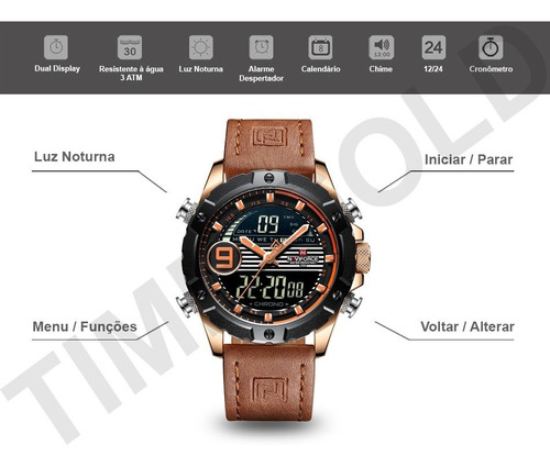 relógio masculino naviforce esportivo digital pulseira couro