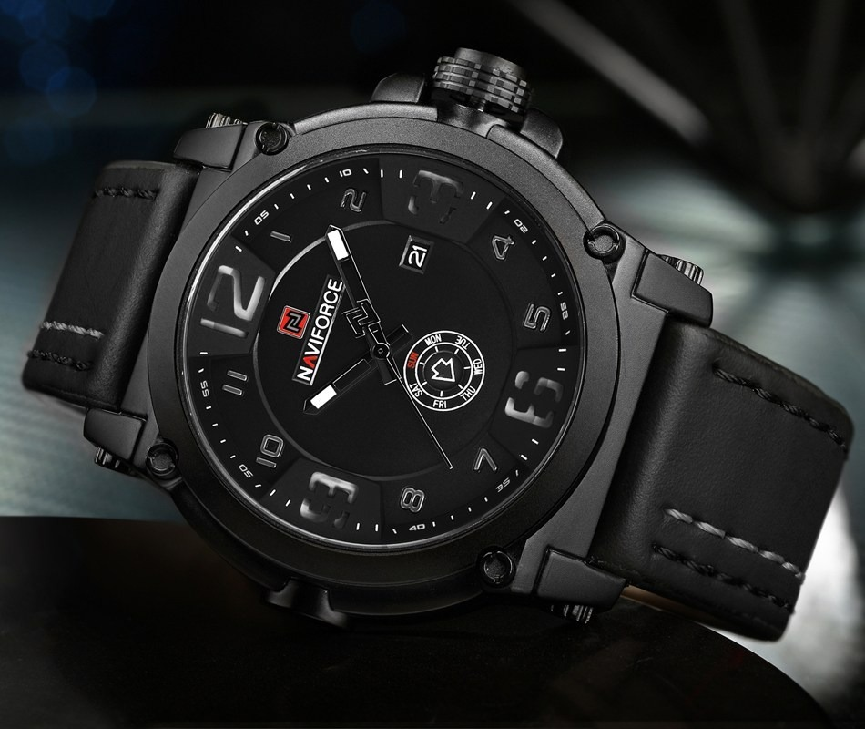 2692eadb83a28 relógio masculino naviforce militar esportivo pulseira couro. Carregando  zoom.