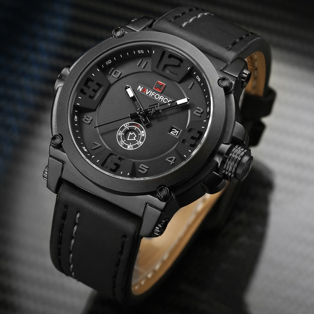 95caf177fdf relógio masculino naviforce militar esportivo pulseira couro. Carregando  zoom.