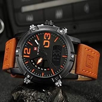 relógio masculino naviforce nf9095m movt duplo laranja