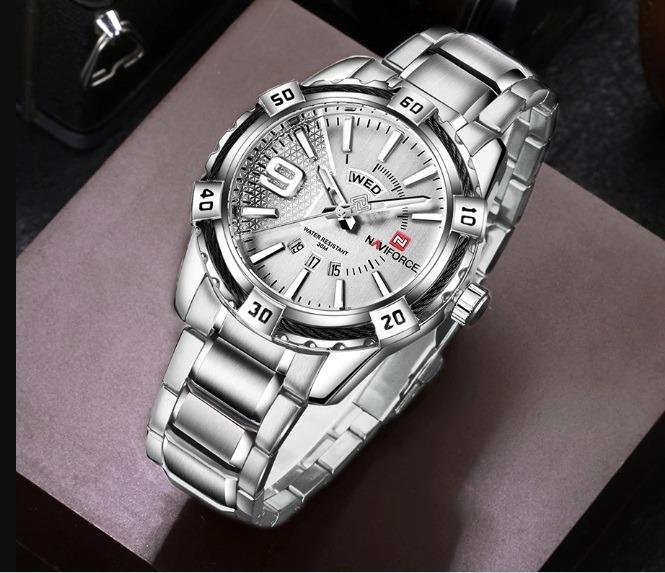 32ead814c38 Relógio Masculino Naviforce Original 9117 Na Cor Prata - R  170