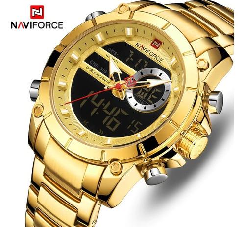 relógio masculino naviforce original aço inox lançamento