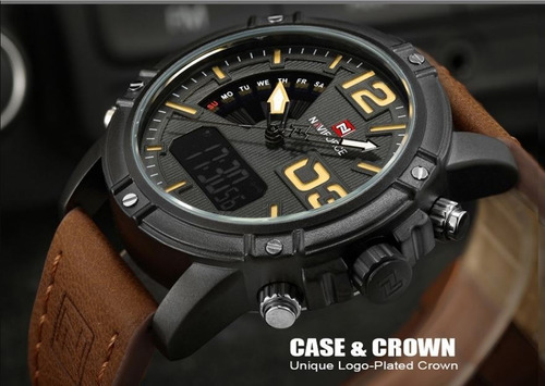 relógio masculino naviforce original anadigi pulseira couro
