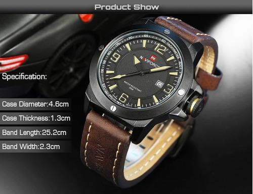 relógio masculino naviforce pulseira couro luxo promoção