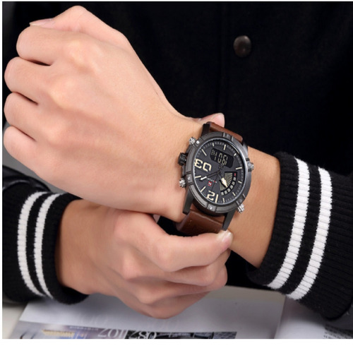 relógio masculino naviforce pulseira de couro confira!