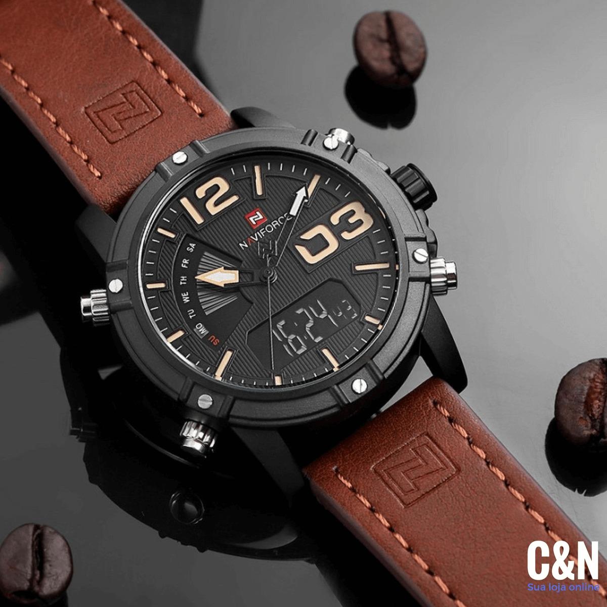 6f3672b46eb relogio masculino nf 9095 pulseira de couro exclusivo. Carregando zoom.