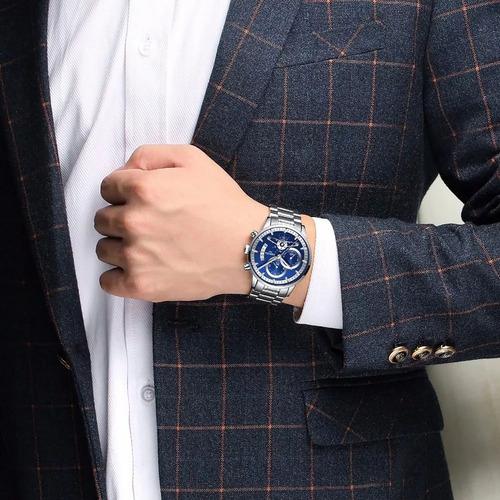 relógio masculino nibosi 100% funcional aço inox china promo