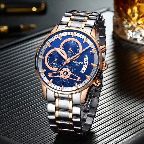 relógio masculino nibosi 2309-1 30m prata/dourado- azul