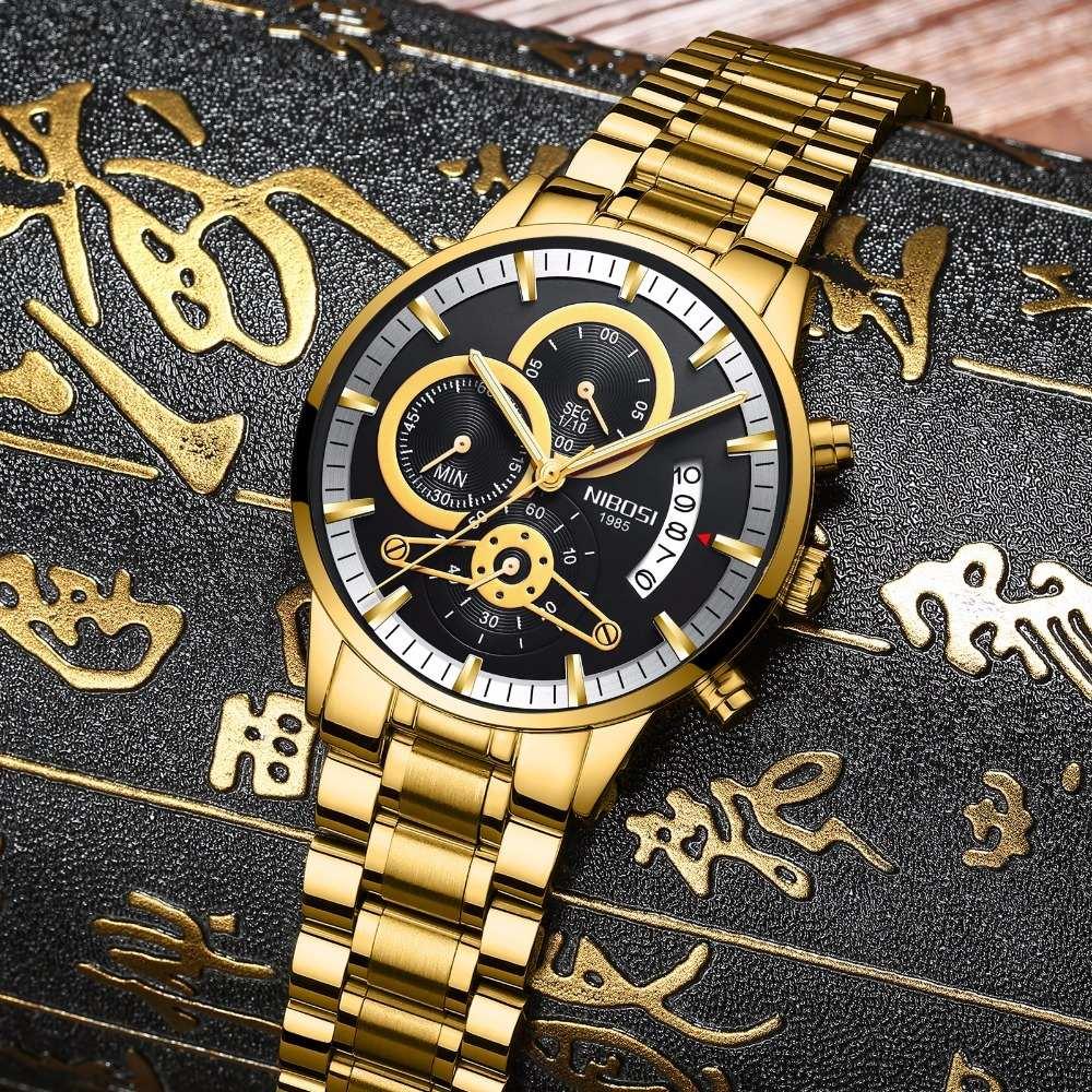 82627c2df4b relógio masculino nibosi 2309-1 original 30 metros dourado. Carregando zoom.