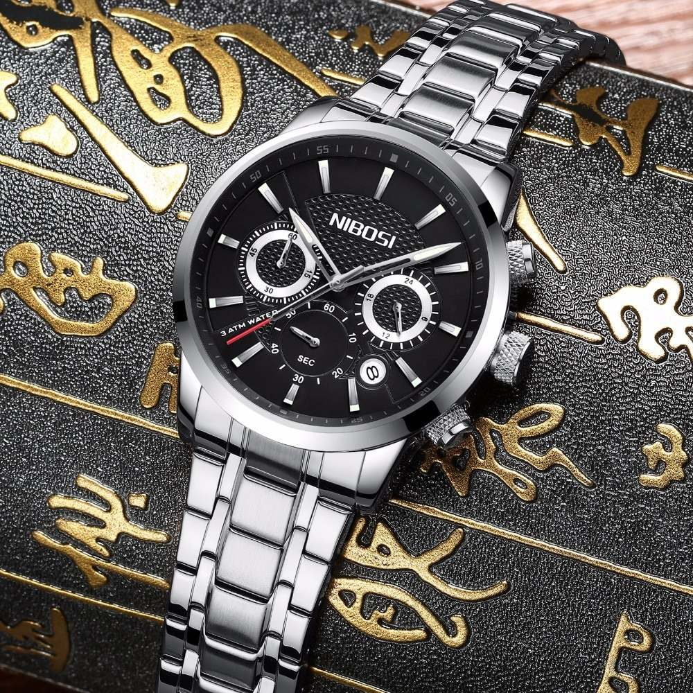 15b8f4cf654 relógio masculino nibosi 2313-1 original 30 metros prata. Carregando zoom.