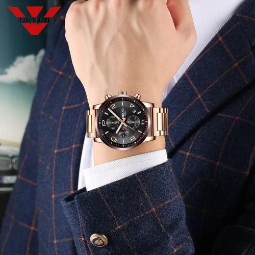 relógio masculino nibosi 2328 original 30m rosé c/preto