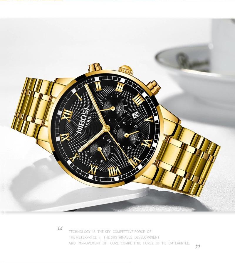 8eb2dd8e6d8 relógio masculino nibosi 2339 original 30m dourado c preto. Carregando zoom.