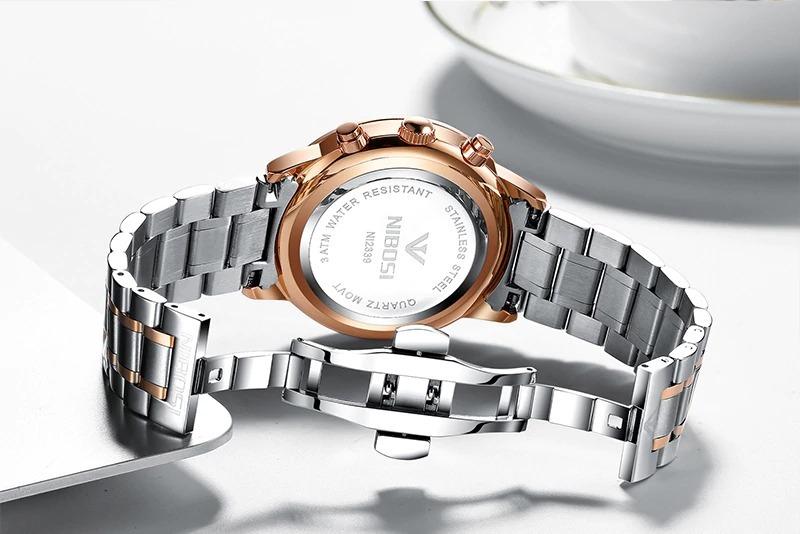3afd44cebab relógio masculino nibosi 2339 original 30m prata  dourado. Carregando zoom.
