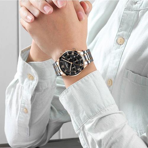 relógio masculino nibosi 2339 original 30m prata /dourado