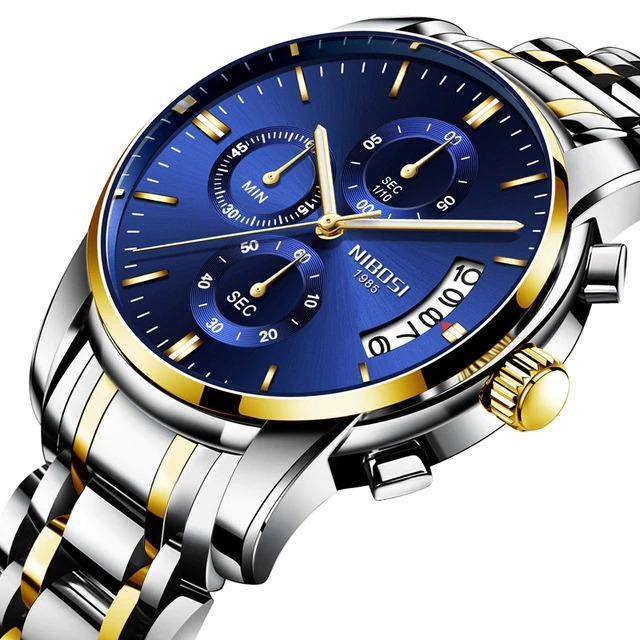 5f961dbdf27 Relógio Masculino Nibosi 2353 - 30m Dourado prata - Azul - R  190