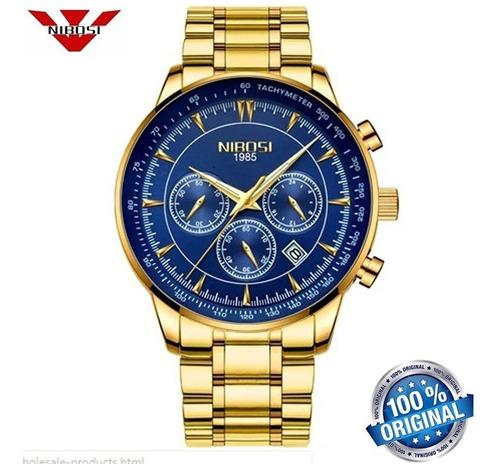 relógio masculino nibosi 2357 luxo dourado azul original