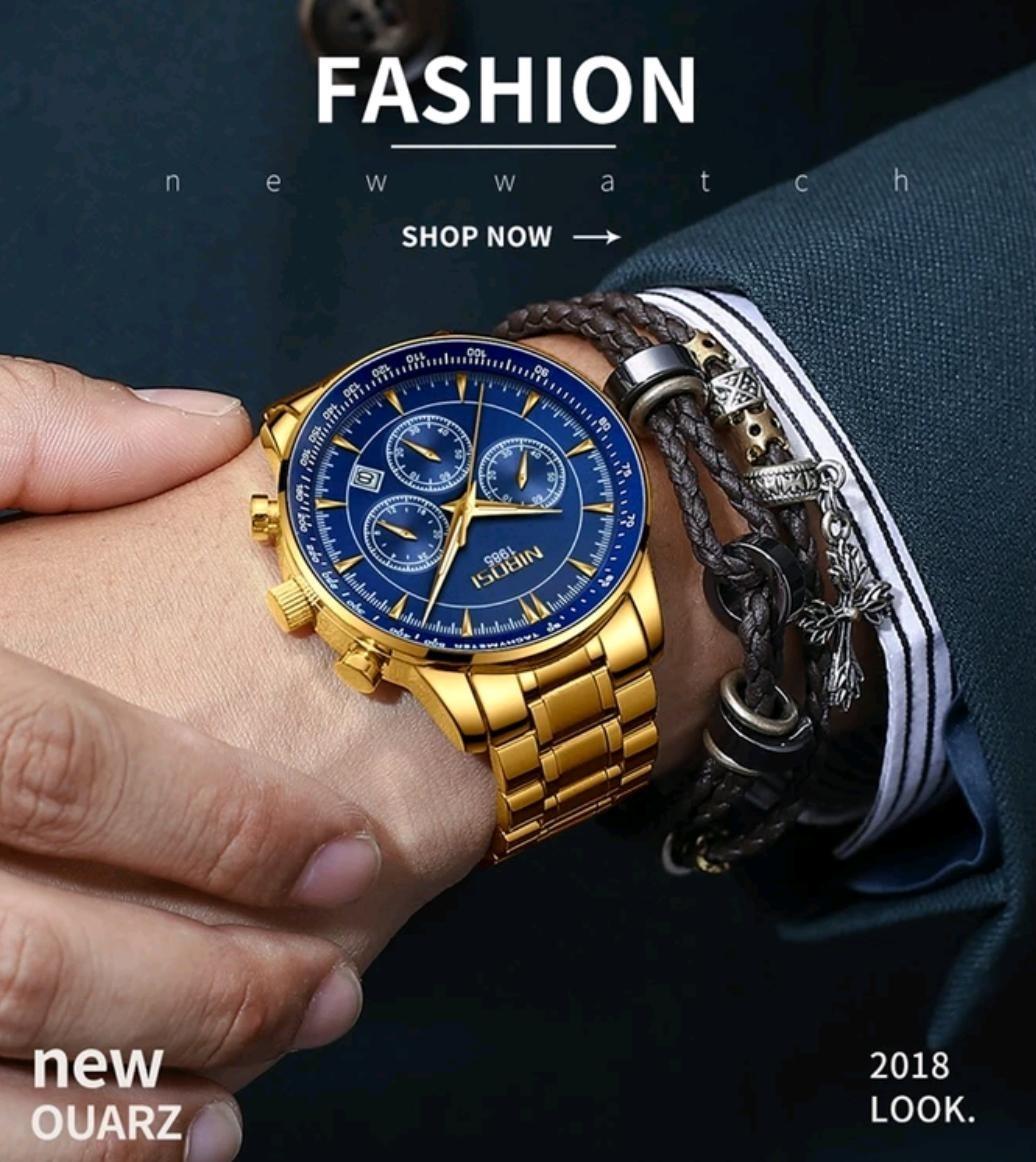 d61a7e455e0 relógio masculino nibosi 2357 original 30 metros dourado. Carregando zoom.