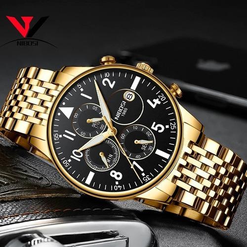 relógio masculino nibosi 2368 original dourado *lançamento*