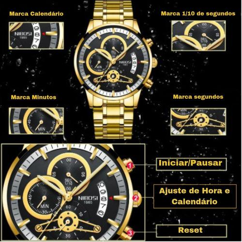 relógio masculino nibosi de luxo original à pronta entrega