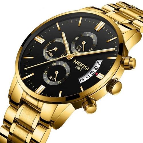 relógio masculino nibosi dourado de luxo