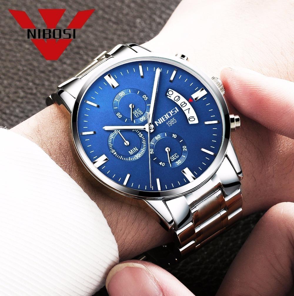 a67e9d180e7 relógio masculino nibosi luxo prova d agua original aço inox. Carregando  zoom.
