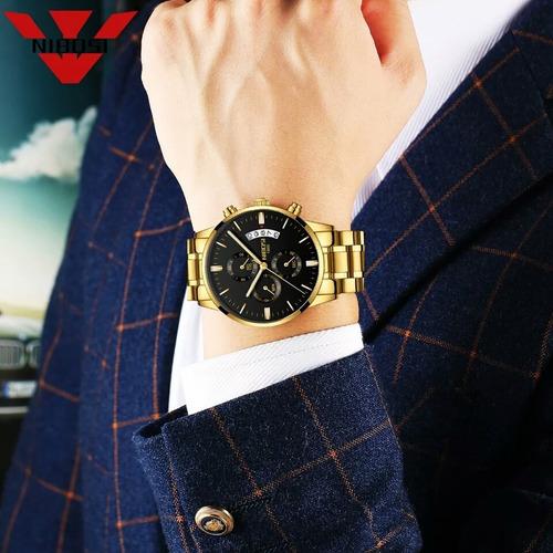 relógio masculino nibosi ni2309 gold cronógrafo completo